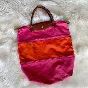 Longchamp Pink & Orange Expandable Le Pliage